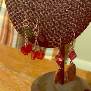 Red earrings set